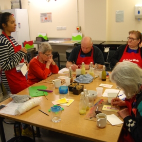 Carers and Kasia creating recipe cards for their dressings